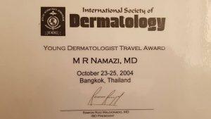 شهادة تقديرية من  جمعية الامراض الجلدية الدولية
